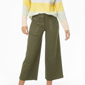 NWT Green wide leg capri cropped pant